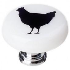"""New Vintage Chicken White 1-1/4"""" Round Glass Cabinet Knob (R-1148) by Sietto"""