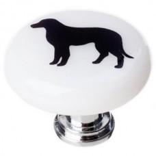 """New Vintage Lab Dog White 1-1/4"""" Round Glass Cabinet Knob (R-1149) by Sietto"""