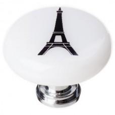 """New Vintage Eiffel Tower White 1-1/4"""" Round Glass Cabinet Knob (R-1158) by Sietto"""