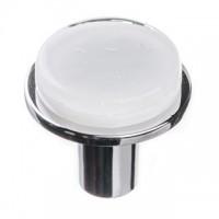 "Geometric White 1.125"" Round Glass Cabinet Knob (R-1300) by Sietto"