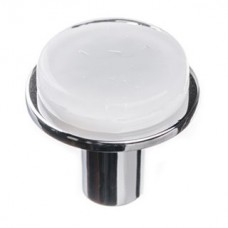 "Geometric White 1.125"" Round Glass Cabinet Knob (R-1300) by Sietto"