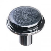 "Geometric Irid Black 1.125"" Round Glass Cabinet Knob (R-1302) by Sietto"