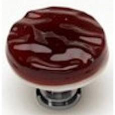 "Glacier Garnet Red 1-1/4"" Glass Cabinet Knob (R-203) by Sietto"