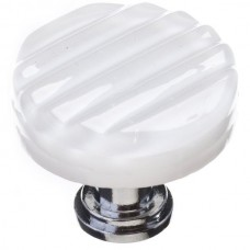 "Texture White 1-1/4"" Round Glass Cabinet Knob (R-800) by Sietto"