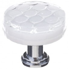 "Texture White 1-1/4"" Round Glass Cabinet Knob (R-900) by Sietto"