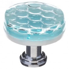 "Texture Light Aqua 1-1/4"" Round Glass Cabinet Knob (R-901) by Sietto"