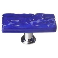 "Glacier Deep Cobalt Blue 2"" Skinny Long Glass Cabinet Knob (SLK-221) by Sietto"