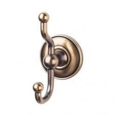 Edwardian Bath Double Hook w/Plain Rosette - German Bronze (ED2GBZD) by Top Knobs