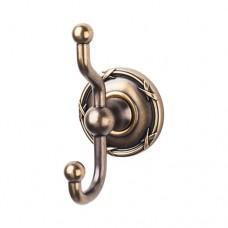 Edwardian Bath Double Hook w/Ribbon Rosette - German Bronze (ED2GBZE) by Top Knobs