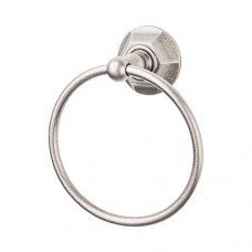 Edwardian Bath Towel Ring w/Hex Rosette - Antique Pewter (ED5APB) by Top Knobs