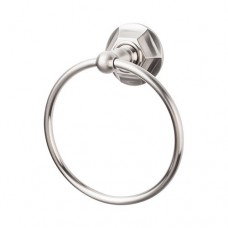 Edwardian Bath Towel Ring w/Hex Rosette -  Bushed Satin Nickel (ED5BSNB) by Top Knobs