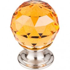 "Amber Crystal Cabinet Knob (1-1/8"") - Brushed Satin Nickel (TK111BSN) by Top Knobs"