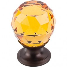 "Amber Crystal Cabinet Knob (1-1/8"") - Oil Rubbed Bronze (TK111ORB) by Top Knobs"