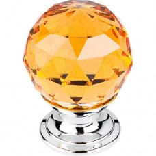 "Amber Crystal Cabinet Knob (1-1/8"") - Polished Chrome (TK111PC) by Top Knobs"