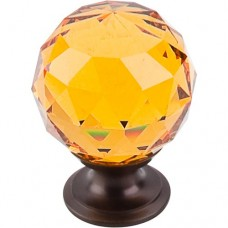 "Amber Crystal Cabinet Knob (1-3/8"") - Oil Rubbed Bronze (TK112ORB) by Top Knobs"