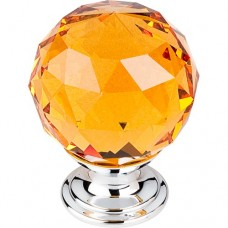 "Amber Crystal Cabinet Knob (1-3/8"") - Polished Chrome (TK112PC) by Top Knobs"