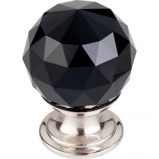 "Black Crystal Cabinet Knob (1-1/8"") - Brushed Satin Nickel (TK115BSN) by Top Knobs"