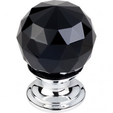 "Black Crystal Cabinet Knob (1-1/8"") - Polished Chrome (TK115PC) by Top Knobs"