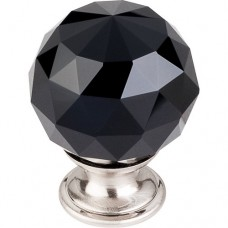 "Black Crystal Cabinet Knob (1-3/8"") - Brushed Satin Nickel (TK116BSN) by Top Knobs"