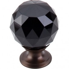 "Black Crystal Cabinet Knob (1-3/8"") - Oil Rubbed Bronze (TK116ORB) by Top Knobs"