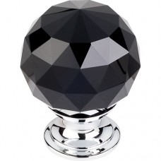 "Black Crystal Cabinet Knob (1-3/8"") - Polished Chrome (TK116PC) by Top Knobs"