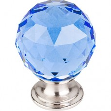 "Blue Crystal Cabinet Knob (1-3/8"") - Brushed Satin Nickel (TK124BSN) by Top Knobs"