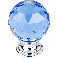 "Blue Crystal Cabinet Knob (1-3/8"") - Polished Chrome (TK124PC) by Top Knobs"