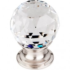 "Clear Crystal Cabinet Knob (1-1/8"") - Brushed Satin Nickel (TK125BSN) by Top Knobs"