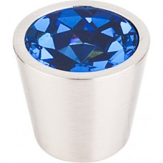 "Blue Crystal Center Cabinet Knob (3/4"") - Brushed Satin Nickel (TK132BSN) by Top Knobs"