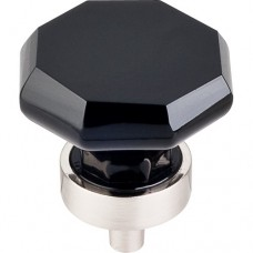 "Black Octagon Cabinet Knob (1-3/8"") - Brushed Satin Nickel (TK137BSN) by Top Knobs"
