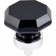 "Black Octagon Cabinet Knob (1-3/8"") - Polished Chrome (TK137PC) by Top Knobs"