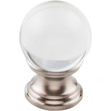 "Clarity Clear Glass Round Cabinet Knob (1"") - Brushed Satin Nickel (TK840BSN) by Top Knobs"