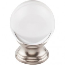 "Clarity Clear Glass Round Cabinet Knob (1-3/16"") - Brushed Satin Nickel (TK841BSN) by Top Knobs"