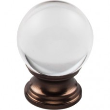 "Clarity Clear Glass Round Cabinet Knob (1-3/16"") - Oil Rubbed Bronze (TK841ORB) by Top Knobs"