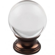 "Clarity Clear Glass Round Cabinet Knob (1-3/8"") - Oil Rubbed Bronze (TK842ORB) by Top Knobs"