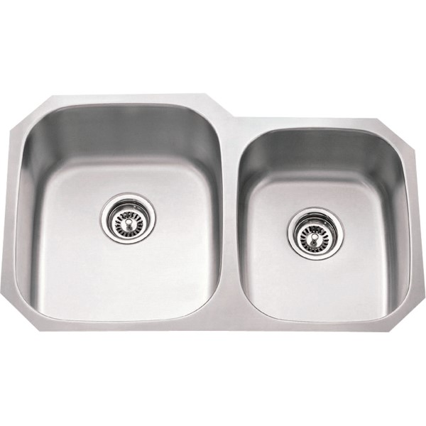 Undermount Stainless Steel Sink 32 X 20 5/8 X 9 Overall Left Large Bowl:  15 3/4 X 18 3/4 X 9    Right Small Bowl: 13 X 16 1/2 X 7 1/4 (801L 18)